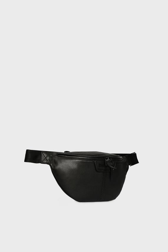 Мужская черная кожаная поясная сумка CLIN