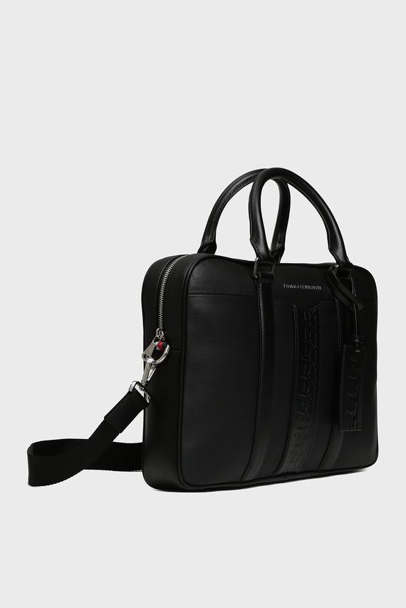 Мужская черная кожаная сумка для ноутбука