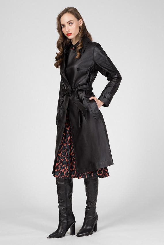 Женский черный кожаный тренч
