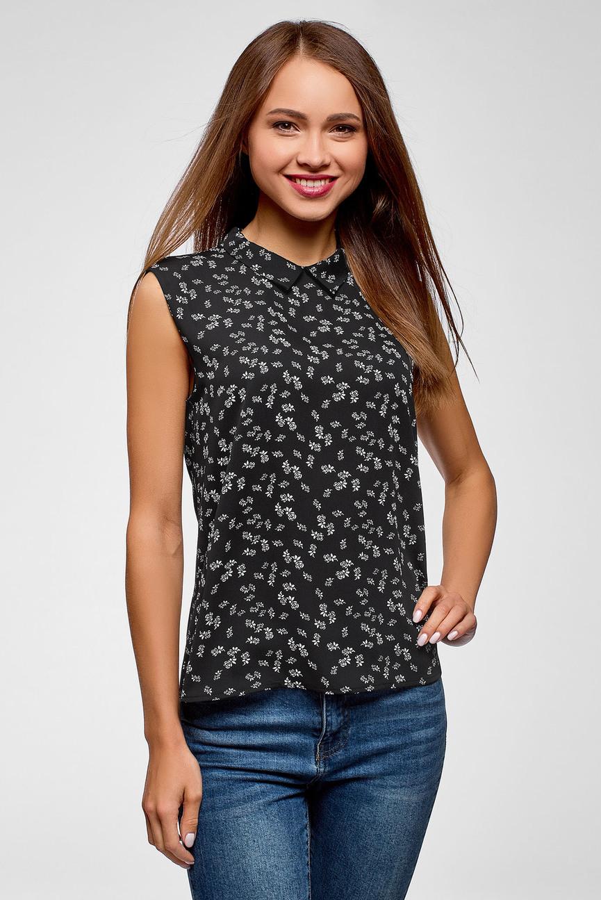 Женская черная блуза с принтом