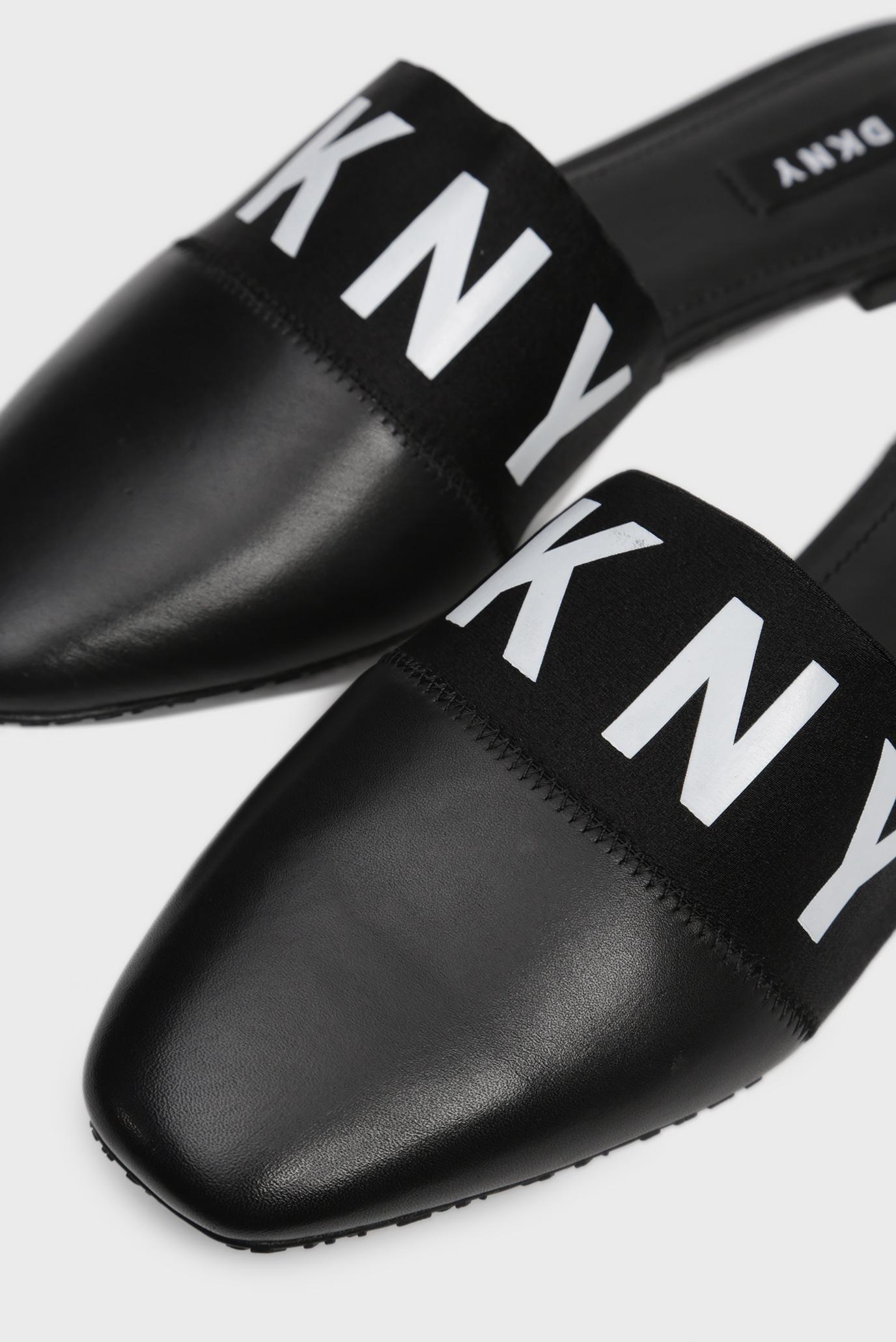 Женские черные кожаные мюли DAWN DKNY