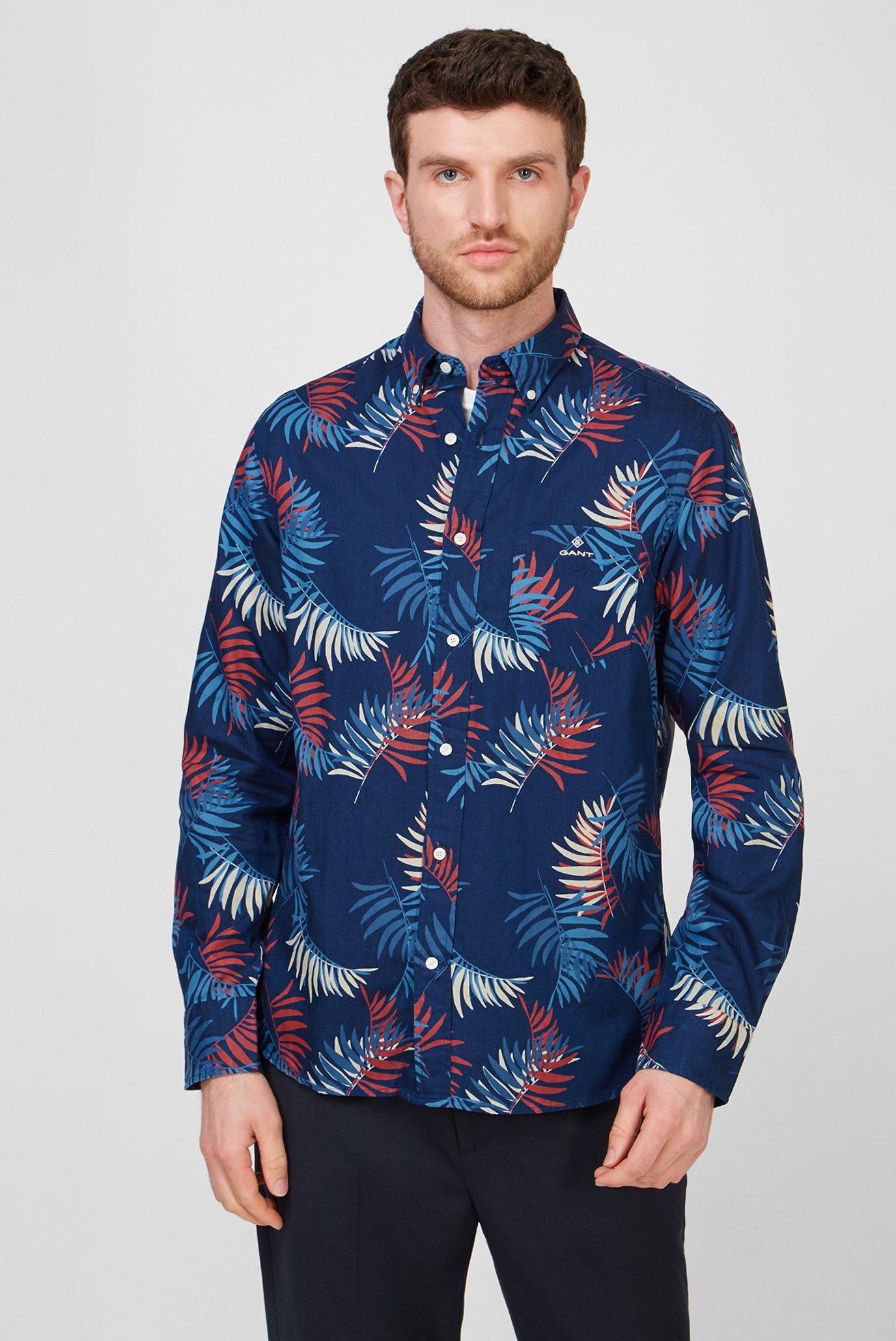 Мужская темно-синяя рубашка с принтом REG SURFPALM BD 1