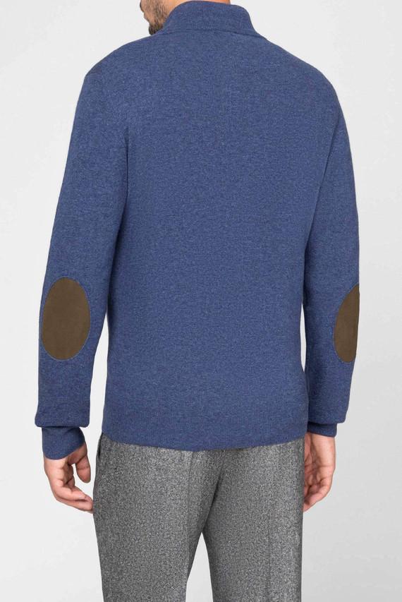 Мужской синий шерстяной свитер WOOL CASH MIX HZIP