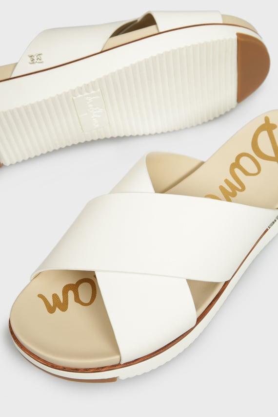 Женские белые кожаные слайдеры AUDREA