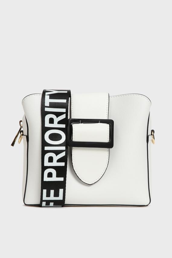 Женская белая сумка через плечо PRIORITY