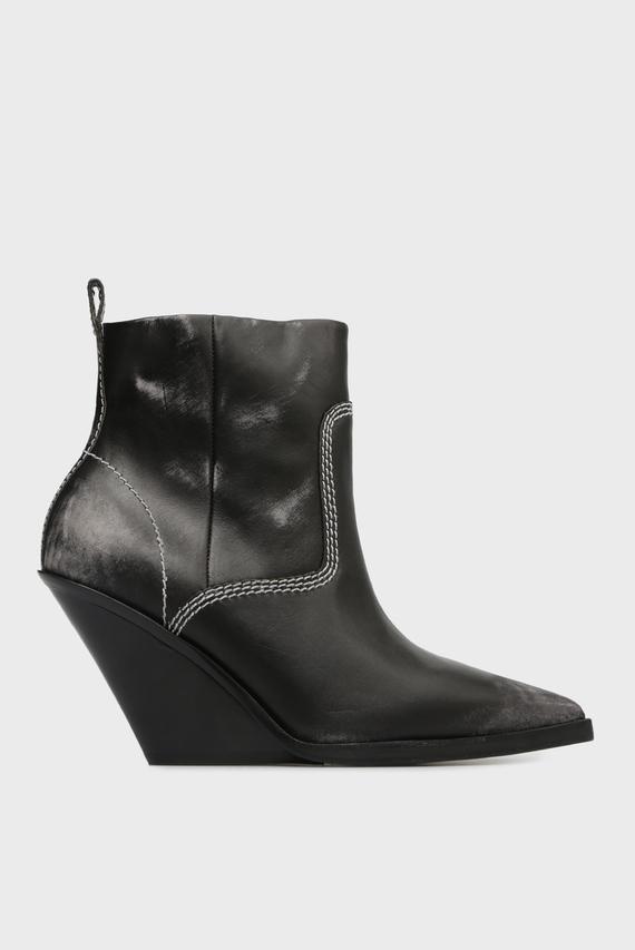 Женские черные кожаные ботильоны WEST