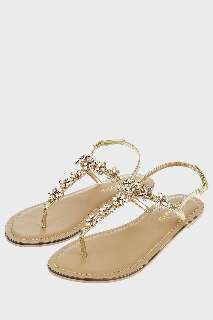 Женские золотистые сандалии IRUN JEWELLED