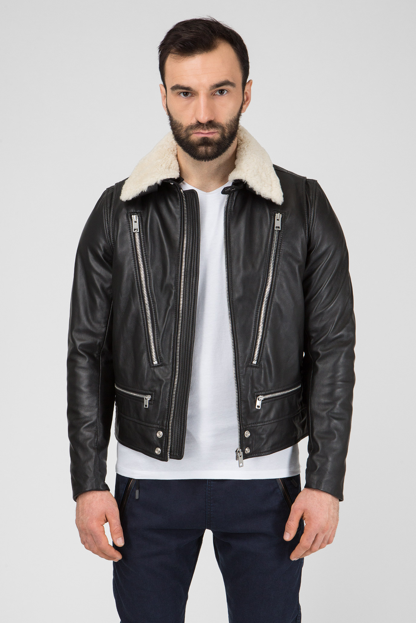 Купить Мужская черная кожаная куртка L-NED GIACCA Diesel Diesel 00SIFS 0NARP – Киев, Украина. Цены в интернет магазине MD Fashion
