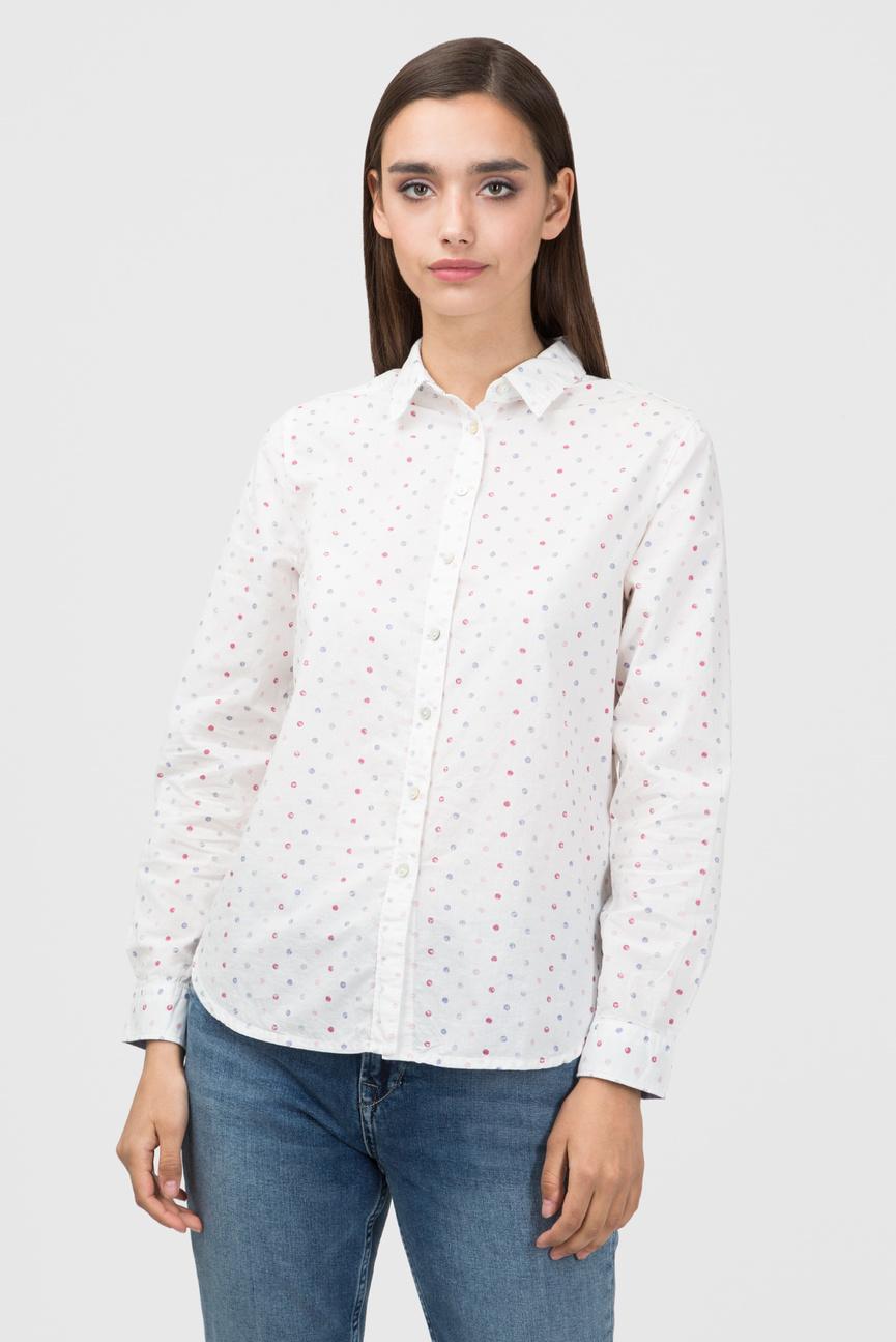 Женская белая рубашка в горошек MILLIE