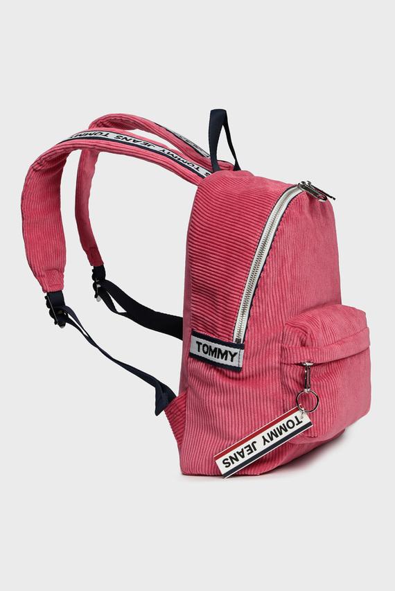 Женский розовый вельветовый рюкзак TJW LOGO TAPE MI CORDUR