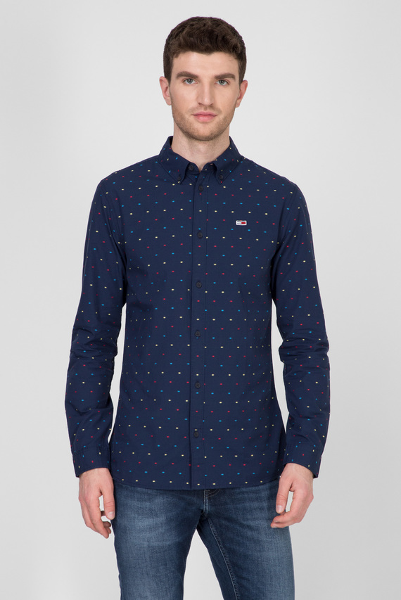 Мужская темно-синяя рубашка с узором TJM COLORED DOBBY POPLIN