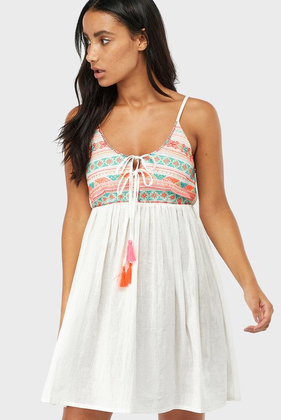 Женское белое платье EMBROIDERED TOP SWIN