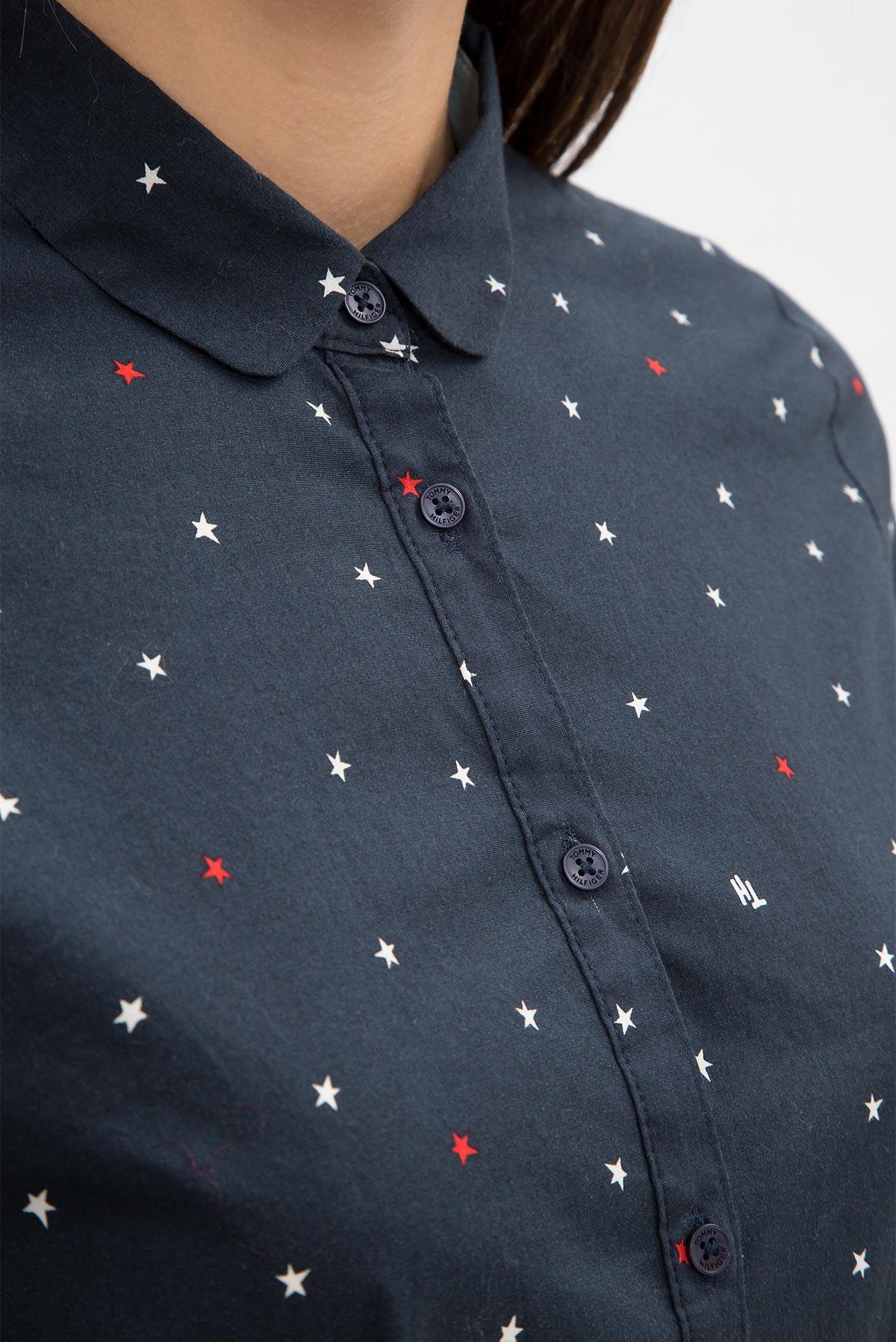 Купить Женская темно-синяя рубашка с принтом Tommy Hilfiger Tommy Hilfiger WW0WW17755 – Киев, Украина. Цены в интернет магазине MD Fashion