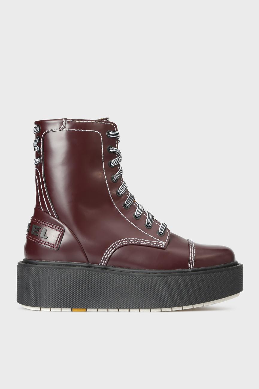 Женские бордовые кожаные ботинки D-CAGE HB