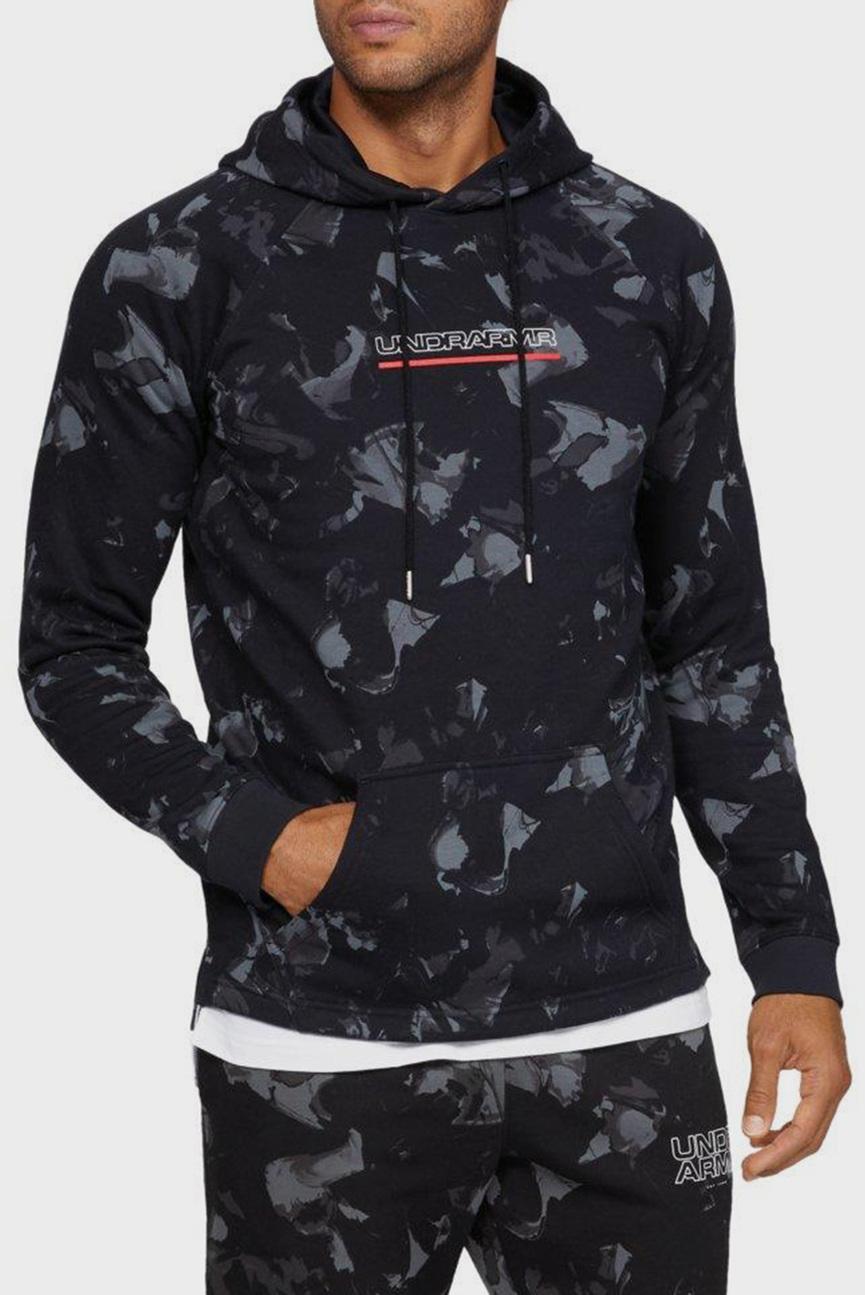 Мужское черное худи с принтом UA Baseline FLC Graphic Hood