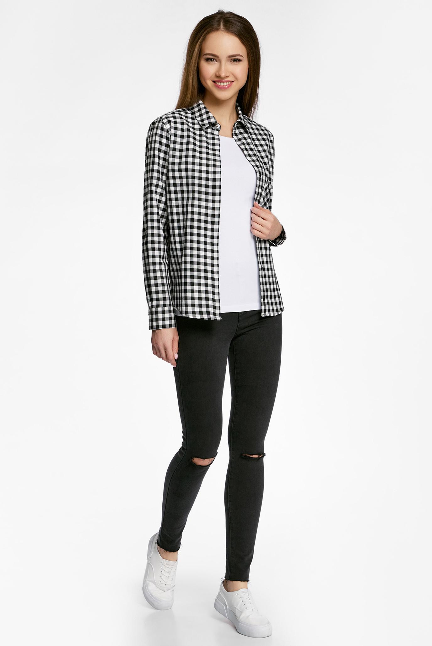 c68ce2d02613 Купить Женская черная рубашка в клетку Oodji Oodji 11411099-1/43566 ...