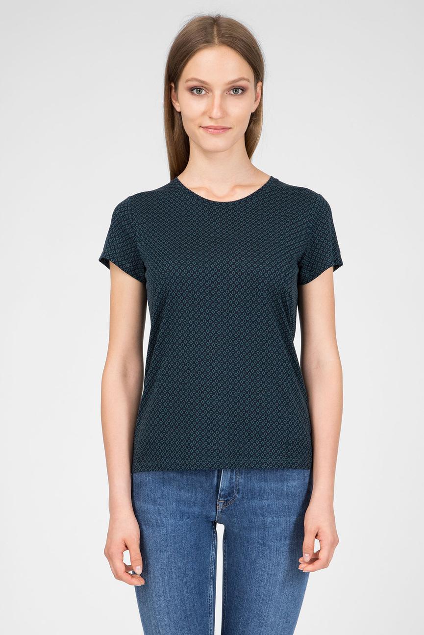 Женская темно-синяя футболка с принтом