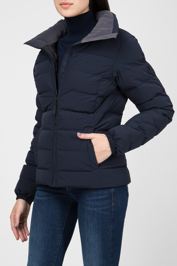 Женская темно-синяя лыжная пуховая куртка