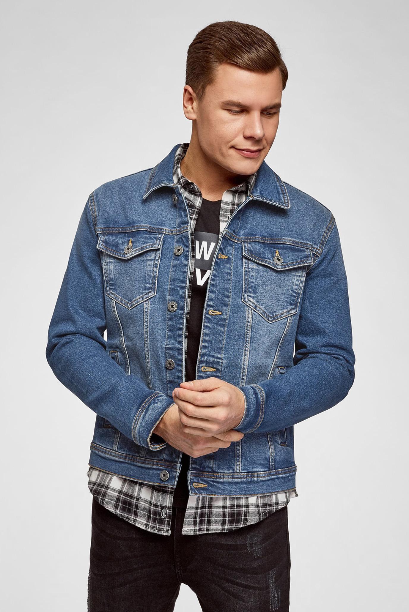 Мужская синяя джинсовая куртка Oodji