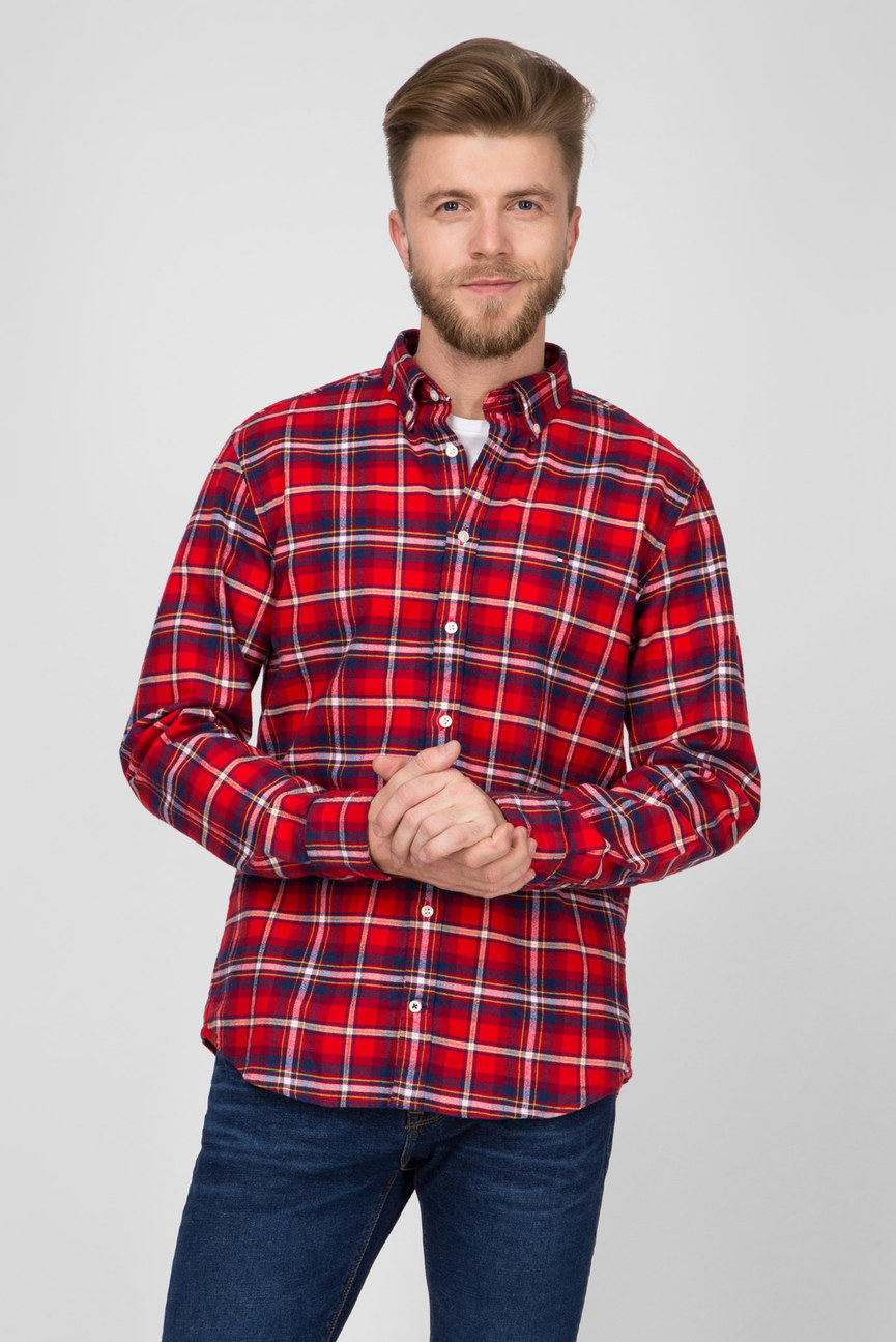 Мужская красная рубашка в клетку