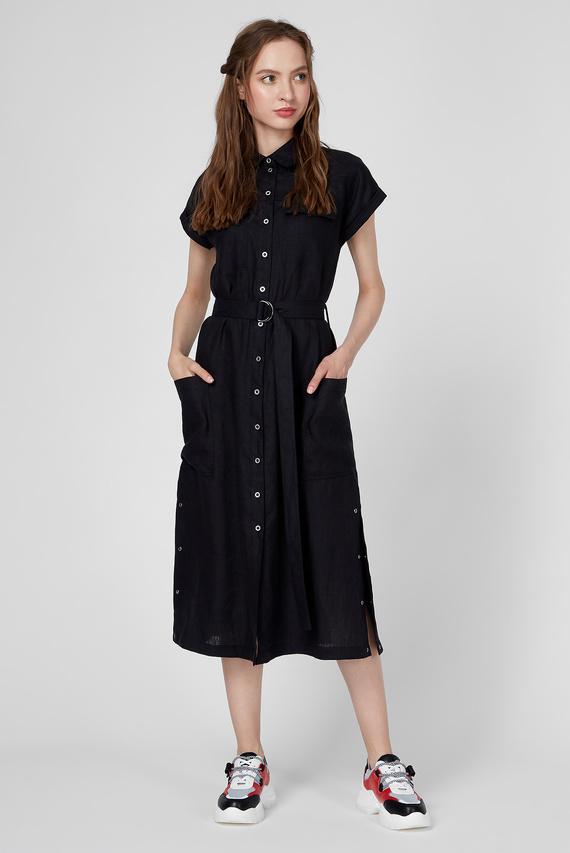 Женское черное льняное платье WWD 005