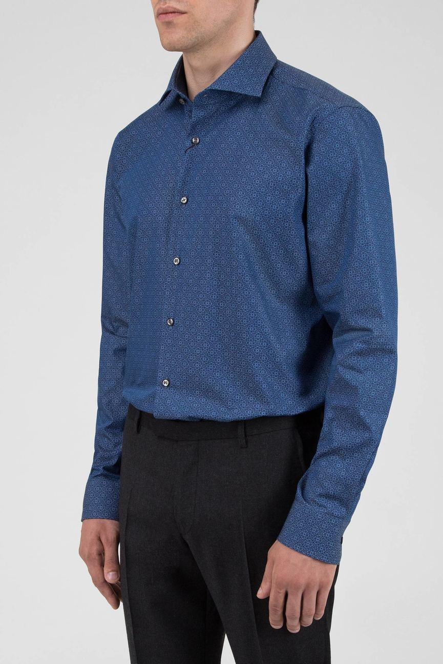 Мужская темно-синяя рубашка с узором
