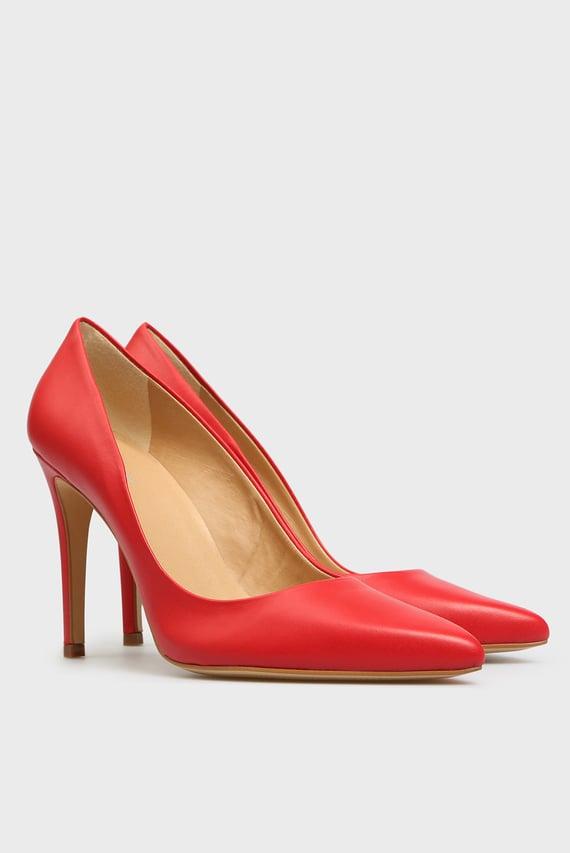 Женские красные кожаные лодочки Gigi